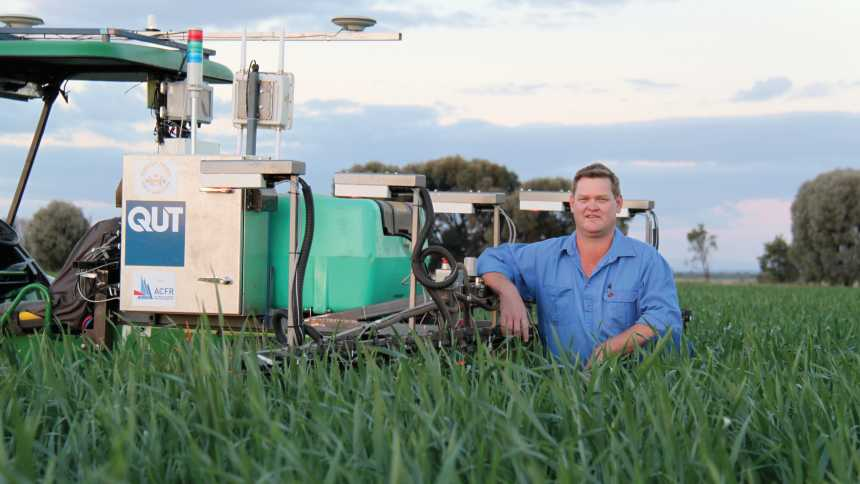 Queensland farmer Andrew Bates is helping drive the development of robots suited to grain production activities via his business SwarmFarm.