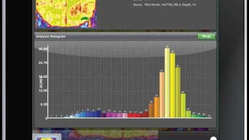 A Satshot NDVIR analysis running on an iPad.