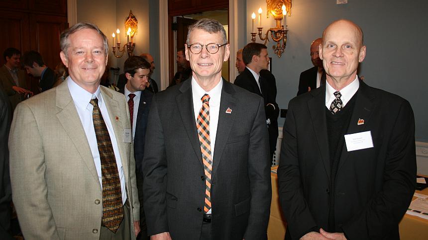 From left: Dr. Marvin Stone; Oklahoma State University President Burns Hargis; Oklahoma State professor Bill Raun