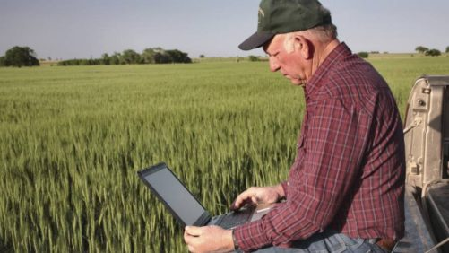 Farmer and laptop