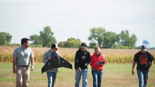 Mitchell Technical Institute students with drone