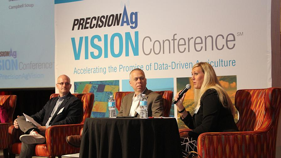 """Three-fourths of the """"Food Manufacturing and Precision Ag: The Emerging Links"""" panel (from left to right): Dr. Daniel Sonke, Paul Hishmeh, and Rachel Grantham."""