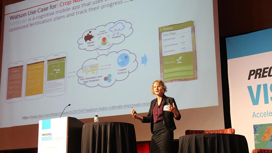 The Weather Company's (an IBM Business) Carrie Gillespie Wednesday, October 19, 2016, in Phoenix, AZ, at the 2016 Precision Ag Vision Conference.