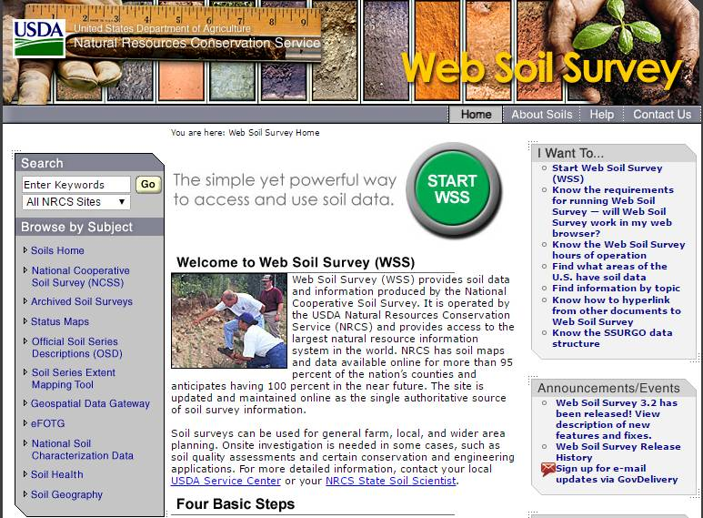 Web Soil Survey Website