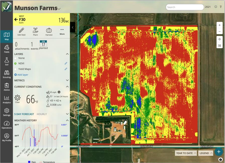 View the NDVI map layer for directed scouting to determine current position relative to crop canopy, plant stand populations or weed density.